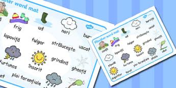 Weather Word Mat Romanian Translation - romanian, insorit, vreme