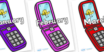 Months of the Year on Mobiles - Months of the Year, Months poster, Months display, display, poster, frieze, Months, month, January, February, March, April, May, June, July, August, September