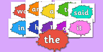 100 High Frequency Words on Splat - High frequency words, hfw, DfES Letters and Sounds, Letters and Sounds, display words