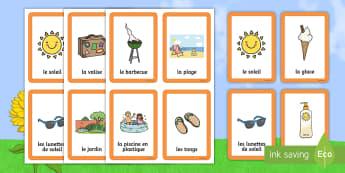 Cartes pour jeu de paires : L'été -  jeu de paires, l'été, été, vacances, activités, activité, paires, Summer Pairs Matching Game