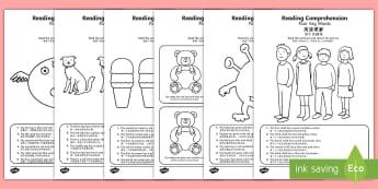 Reading Comprehension   Four Key Words Activity Sheet - English/Mandarin Chinese - Reading comprehension, information carrying words, key words, worksheet, activity sheet. EAL