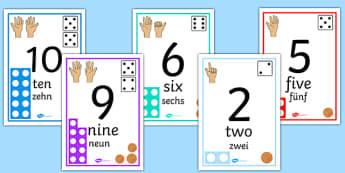 Visual Number Line Posters 0 20 English/German