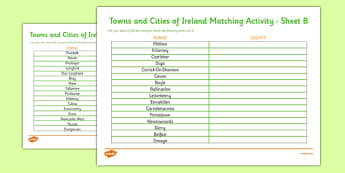 Towns and Cities of Ireland Activity Worksheet - roi, irish, republic of ireland, towns, cities, activity