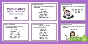 Year 6 Maths Mastery Mental Calculations Challenge Cards - year 6, maths mastery, maths, mastery, mental calculations, challenge cards, challenge, cards