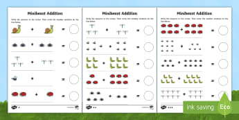 Minibeast Themed Addition Activity Sheets - minibeasts, addition, adding, calculating, insects, worksheet, worksheets