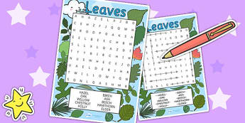 Leaves Wordsearch - leaves, flower, plants, wordsearch, growth