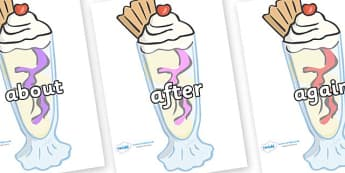 KS1 Keywords on Ice Cream Sundaes - KS1, CLL, Communication language and literacy, Display, Key words, high frequency words, foundation stage literacy, DfES Letters and Sounds, Letters and Sounds, spelling