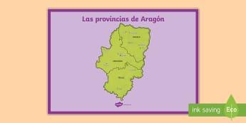 Póster DIN A2: Las provincias de Aragón  - Mapas, provinicias, mapas mudos, mapas en blanco, las ciudades de españa, comarcas, concejos, comun