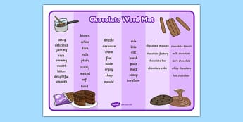 Chocolate Word Mat - chocolate, word mat, word, mat, food, sweet, chocolate word mat