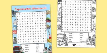 Supermarket Wordsearch - supermarket, wordsearch, words, eal