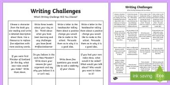 Writing Challenge Activity Sheet - CfE Writing, morning challenges, early morning work, writing challenges, second, worksheet, language