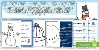 Winter Wunderland Materialien für die Klassenraumgestaltung - Winter, Wintermotive, Anmalbilder, Schneemann, Winterfotos, Schneeflocke, German