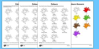 Colours Activity Sheet Cymraeg - welsh, cymraeg, colours, activity, sheet, worksheet