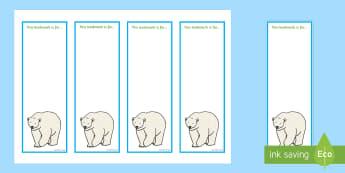 Polar Bear Editable Bookmarks - Bookmarks, award, polar bear, Arctic, Antarctic, polar regions