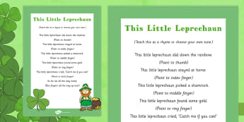This Little Leprechaun Rhyme - St Patricks day, this little leprechaun, rhyme