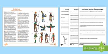 Gottheiten im Alten Ägypten Leseverstehen Arbeitsblätter: Unterschiedliche Schwierigkeitsgrade - Geschichte, Lesen, Verstehen, Götter, Gott,,German