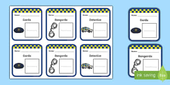Garda Badges - garda, police force, ireland, republic of ireland, badges, role play, police station, garda station, detective, role play area