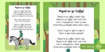 Mynd ar y Ceffyl Hwiangerddi Cymreig  - Hwiangerddi Cymreig (Welsh Nursery Rhymes), Cymraeg, Iaith, canu, cerddoriaeth, cyfnod sylfaen,Welsh