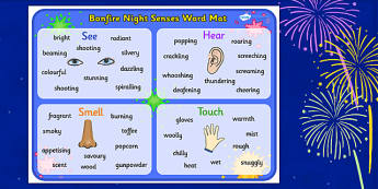 Bonfire Night Senses Word Mat - bonfire night, bonfire night senses, word mat, bonfire night word mat, bonfire night keywords, bonfire night resources