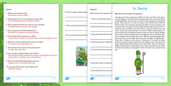 Saint Patrick Comprehension Activity First and Second Class - gaeilge, Saint Patrick, comprehension, reading, questions, religion, Ireland