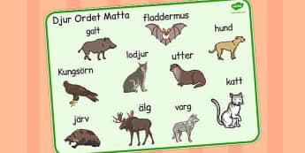 Swedish Animals Word Mat - swedish, animals, word mat, mat, word