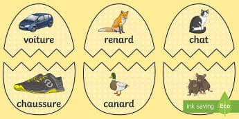 Easter Eggs French Rhyming Words Matching Game - KS2, French, Easter, Pâques, rhyme, pairs, basic words, vocabulary, mots, egg, œuf