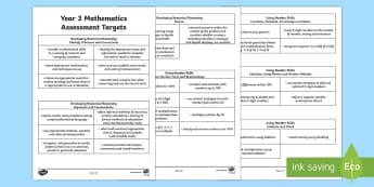 Curriculum for Wales Year 3 Mathematics Targets Assessment Pack - Back to school resources, Wales, Assessment, Targets.,Welsh