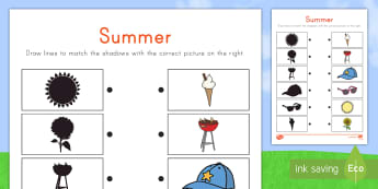 Summer Shadow Match Activity Sheet - worksheet, pairs, shapes, shadows, objects