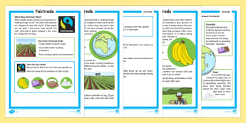 Fairtrade Differentiated Fact File - KS1 Comprehensions, fairtrade, fair trade, equal trade, international, farmers, cocoa, bananas, tea,