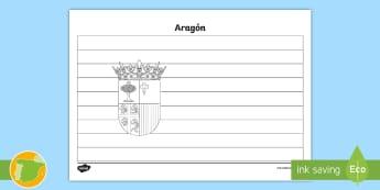 Hoja de colorear: la bandera de Aragón - Mapas, provinicias, mapas mudos, mapas en blanco, las ciudades de españa, comarcas, concejos, comun