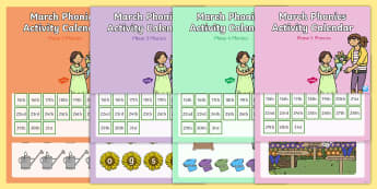 March Phonics Activity Calendar PowerPoint Pack - march, spring, phonics, calendar, monthly, reading, spelling, sorting, tricky words, letters and sou
