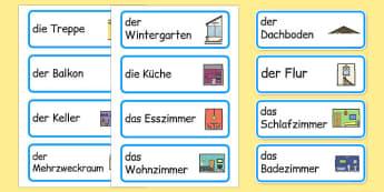 die Teile eines Hauses Word Cards German - german, parts, house, parts of a house, word cards, word, cards