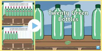 Twenty green Bottles PowerPoint - Ten Green Bottles Powerpoint - ten green bottles, 10 green bottles, nursery rhymes, nursery rhyme po