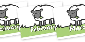 Months of the Year on Sheep to Support Teaching on Pig in the Pond - Months of the Year, Months poster, Months display, display, poster, frieze, Months, month, January, February, March, April, May, June, July, August, September