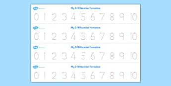 Number Formation Tracing Strips 0-10 - number formation, tracing, strips, 0-10
