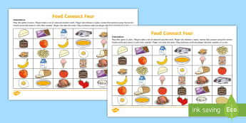 Different Food Four in a Row Game Spanish  - Spanish, Vocabulary, KS2, animals, connect, four, row, game, revision,Scottish