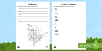 Minibeasts Word Unscramble - Vocabulary Development, anagrams, scramble, spelling, keywords