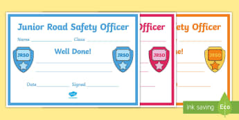 Junior Road Safety Officer Certificate - junior road safety officer, road safety, health and well being, scotland, JRSO certificates, JRSO