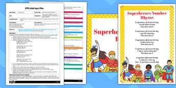 Superheroes Number Rhyme EYFS Adult Input Plan and Resource Pack