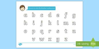 Das Alphabet Arbeitsblatt Erstes Schreiben: Buchstaben nachspuren - Buchstaben schreiben, Buchstaben, erste Buchstaben, Buchstaben nachschreiben, Buchstaben nachspuren,
