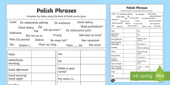 Common Phrases Table Activity Sheet Polish - worksheets, phrase, poland, activity sheet,eal,Polish-translation