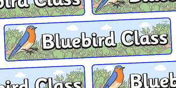 Bluebird Themed Classroom Display Banner - Themed banner, banner, display banner, Classroom labels, Area labels, Poster, Display, Areas