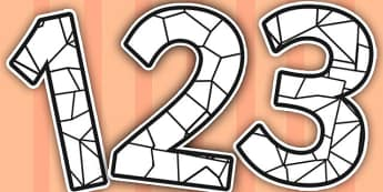 Stained Glass Black and White Themed Display Numbers - glass