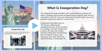 Inauguration Day Information PowerPoint - KS1/2 Donald Trump Inauguration Day Jan 20th 2017, Inauguration Day, president, vice-president, Capi