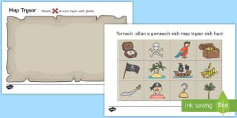 Gweithgaredd Dylunio Map Môr ladron - pirate, pirates, Môr-ladron, Môr-leidr, arddangosfa, chwarae rol, welsh, cymraeg, cyfnod sylfaen.,