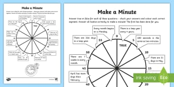 Make a Minute Activity Sheet - Learning from Home Maths Workbooks, time challenge, second, minute, day, hour, worksheet, week, mont