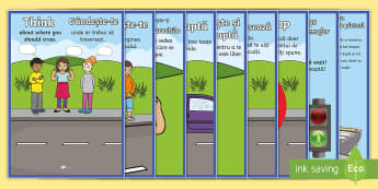 Road Crossing Safety Display Posters Romanian/English - Road Crossing Safety Posters - safety, safe crossing, road crossing, display, banner, poster, sign,