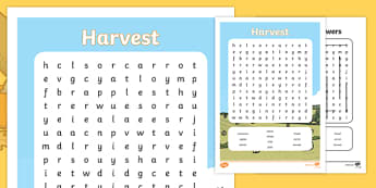 Harvest Differentiated Wordsearch - autumn, seasons, word search