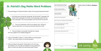 ROI St. Patrick's Day Maths Word Problems Activity Sheet - ROI, St. Patrick's Day, word problems, maths, money, euro, puzzle, time, hour, measure, metre, cm,