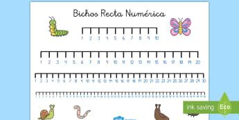 Bichos Recta numérica - Bichos, insectos, números, contar, operaciones, sumar, restar,Spanish